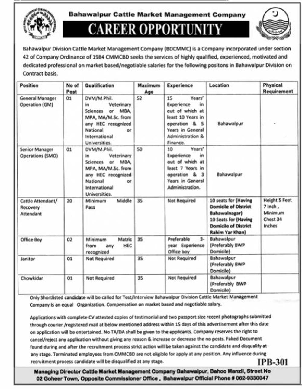 Bahawalpur Cattle Market Management Company BCMMC Jobs 2021