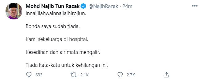 Ibu Najib Razak meninggal dunia