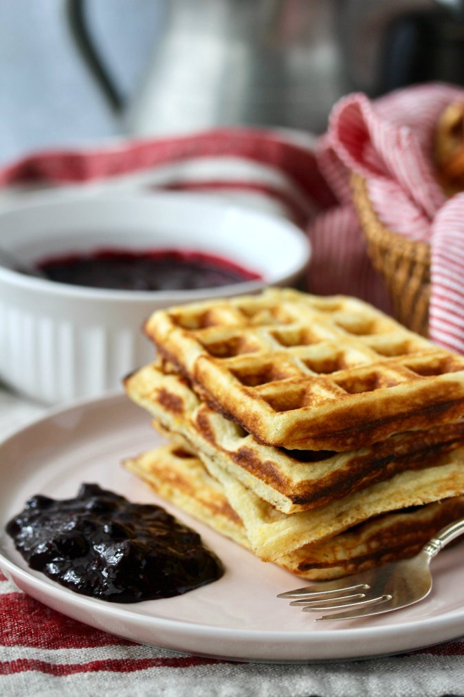 Cornmeal Waffles with Blueberry Sauce