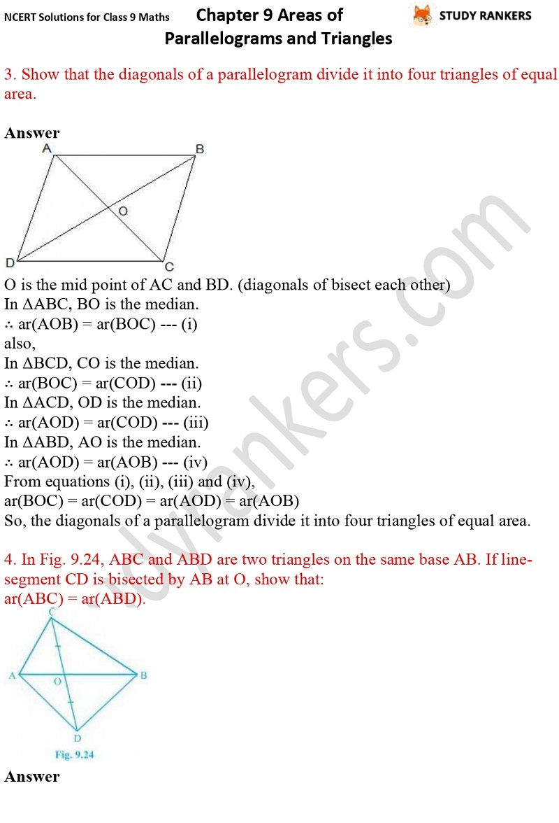 NCERT Solutions for Class 9 Maths Chapter 9 Areas of Parallelograms and Triangles Part 8