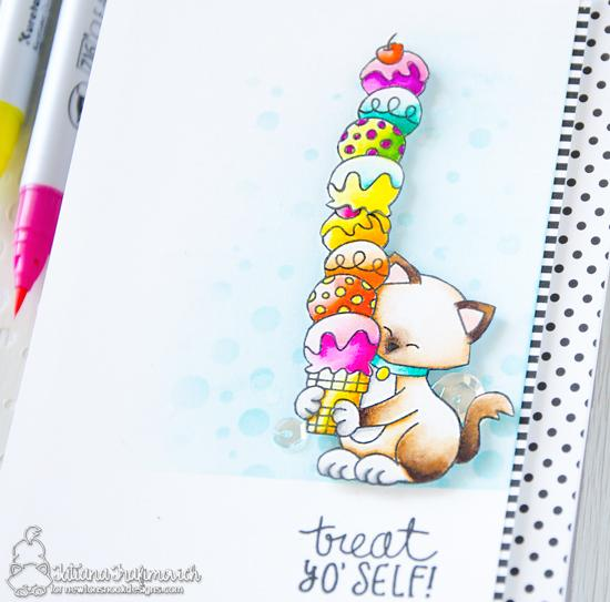 Treat Yo' Self Ice Cream and Kitty Card by Tatiana Trafimovich | Newton's Summer Treats Stamp Set and Bubbly Stencil by Newton's Nook Designs #newtonsnook #handmade