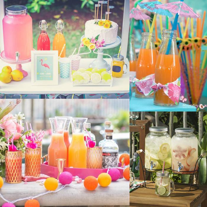 festa tropical, água saborizada, sucos, festas com sucos