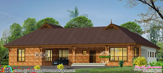 Big single floor Kerala traditional home design made with laterite stone