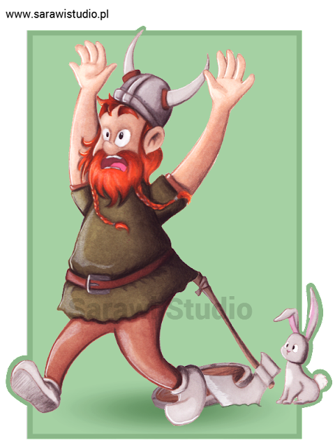 wiking, wojownik, rysunek, króliczek, strach, śmieszne, 30 day, drawing, challenge, comcom!!