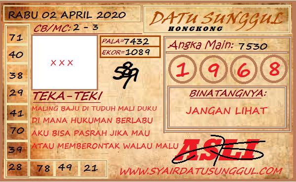 Prediksi HK Malam Ini Kamis 02 April 2020 - Datu Sunggul HK