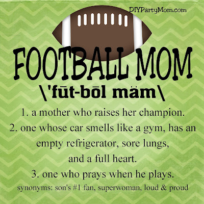 Show your Football Mom pride with this free quote printable. Find this football print in 9 different sizes so you can share it with everyone who cheers you and your son on.