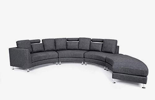 beliani grey curved sectional sofa canada