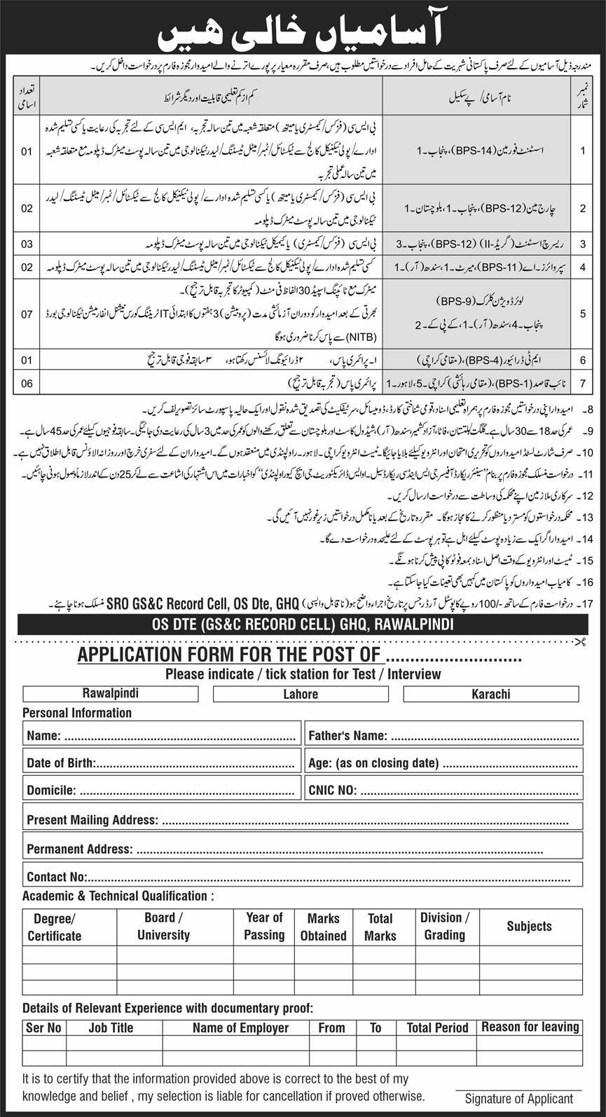 GHQ Rawalpindi Jobs 2020 Civilians Pakistan Army
