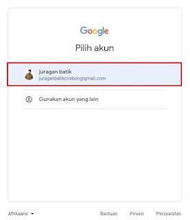 Memilih akun Gmail yang akan digunakan untuk membuat blog