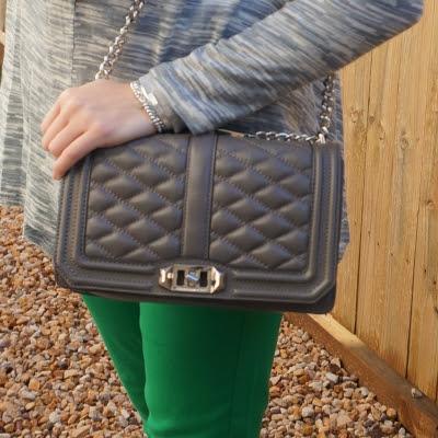 green skinny jeans and Rebecca Minkoff Love cross body bag in grey | awayfromtheblue