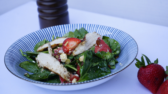 Grilled Chicken Spinach Salad with Feta and Almonds