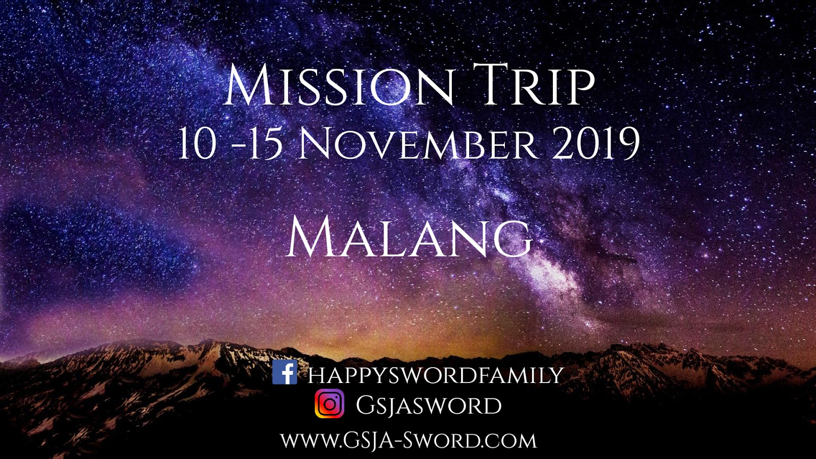 Mission Trip GSJA Sword 10-15 November 2019 di Malang