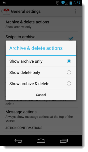 How to get Trash button back in Gmail in Android: Intelligent Computing