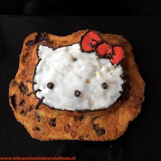 cake in hello kitty vorm met kersen witte chocolade kardemom