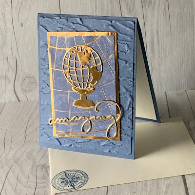Handmade greeting card using gold foil die cuts and Designer Series Paper From Stampin' Up!