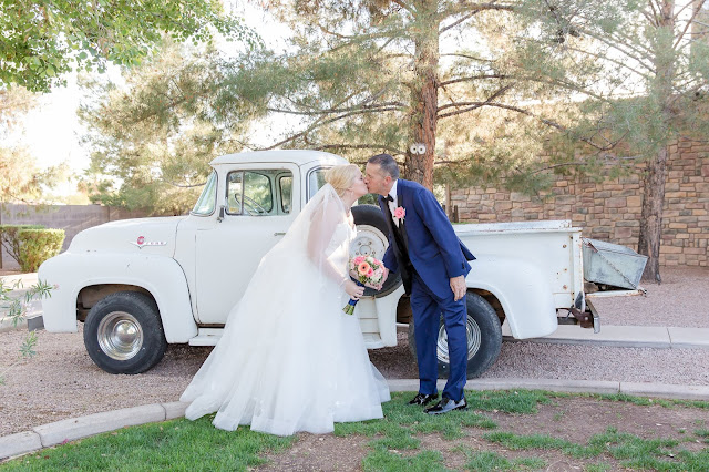 Shenandoah Mill Wedding Bride and Groom Portraits with 1956 Ford Vintage Truck