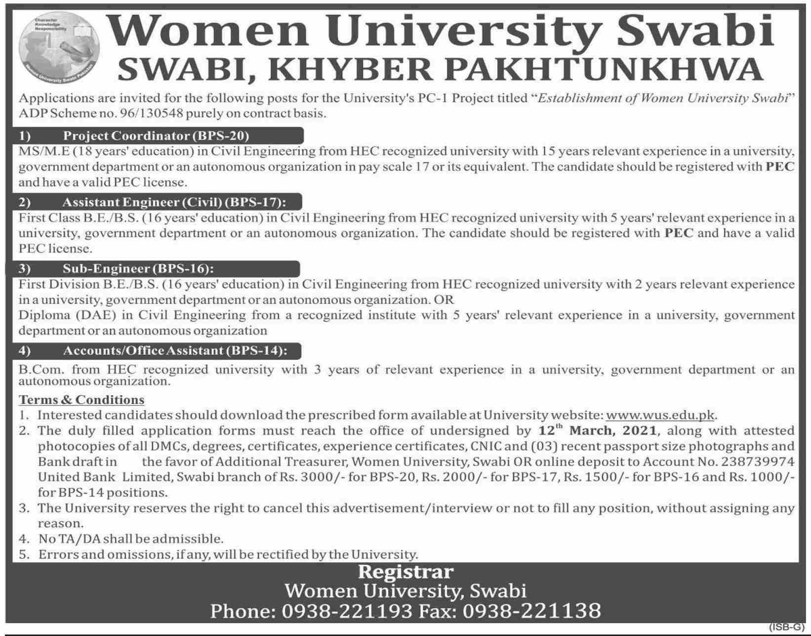 WUS Jobs 2021 - Women University Swabi Jobs 2021 - KPK Jobs 2021 - Download Women University Swabi WUS Jobs 2021 Application Form :- www.wus.edu.pk