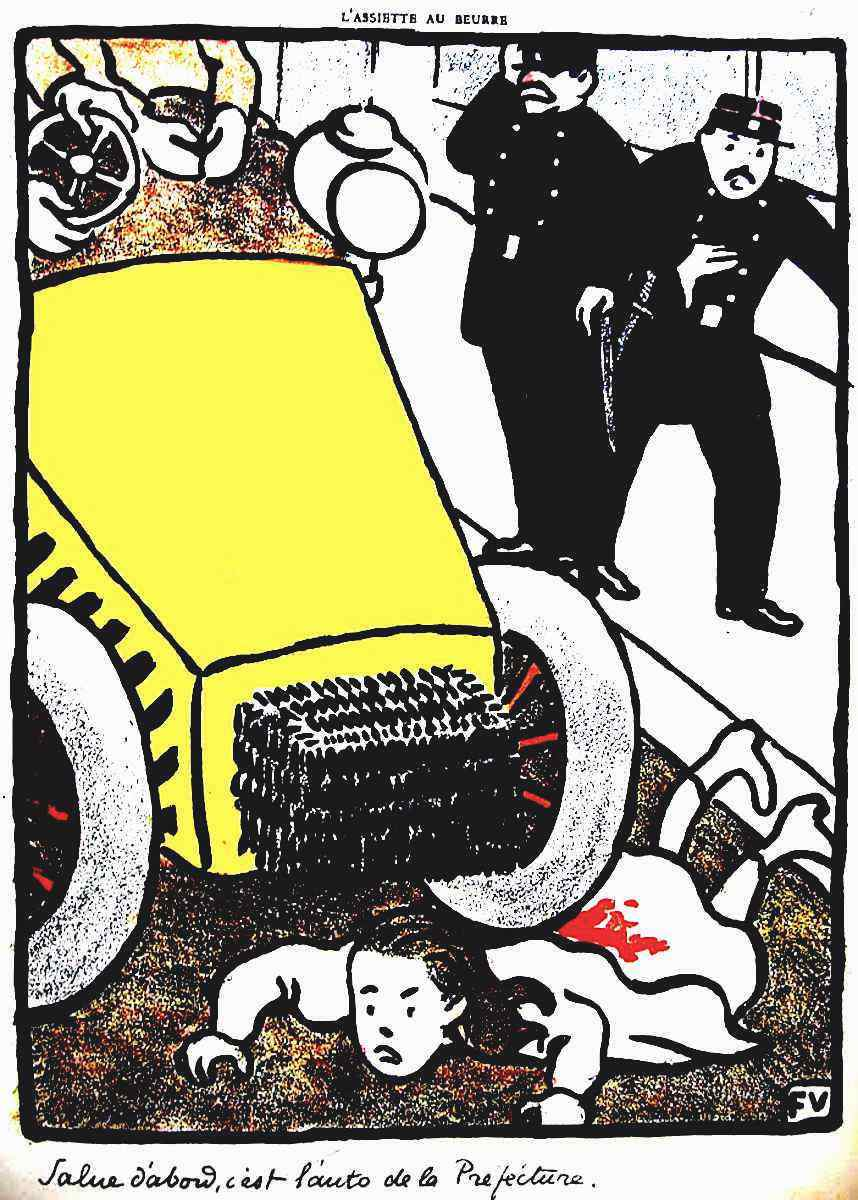 a government official's car crushes a girl by Felix Vallotton