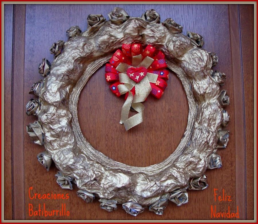 corona papel mach - Coronas Navidad