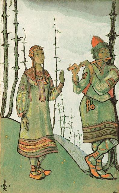 Николай Рерих - Снегурочка и Лель. 1921