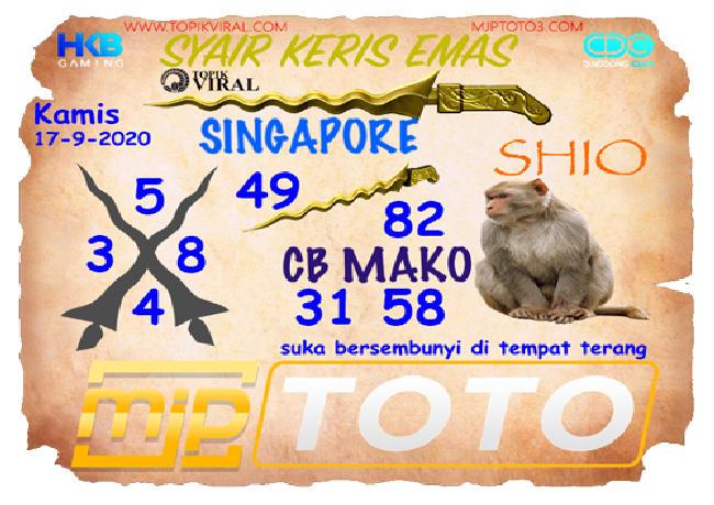 Kode syair Singapore Kamis 17 September 2020 125