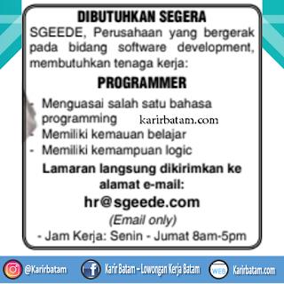 Lowongan Kerja PT. Sgeede Batam Indonesia