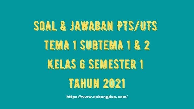 Soal & Jawaban PTS/UTS Kelas 6 Tema 1 Subtema 1 & 2 Semester 1 Tahun 2021