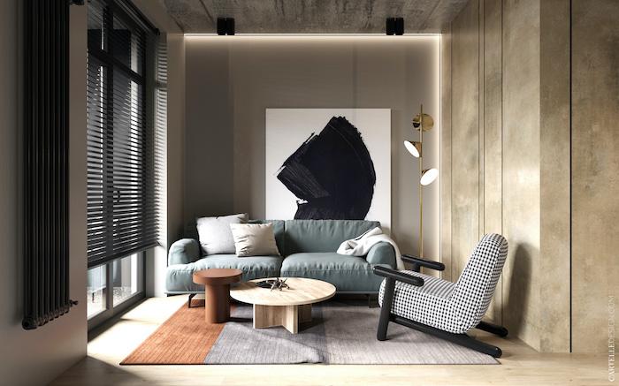 Salón con decoración moderna tipo hotel