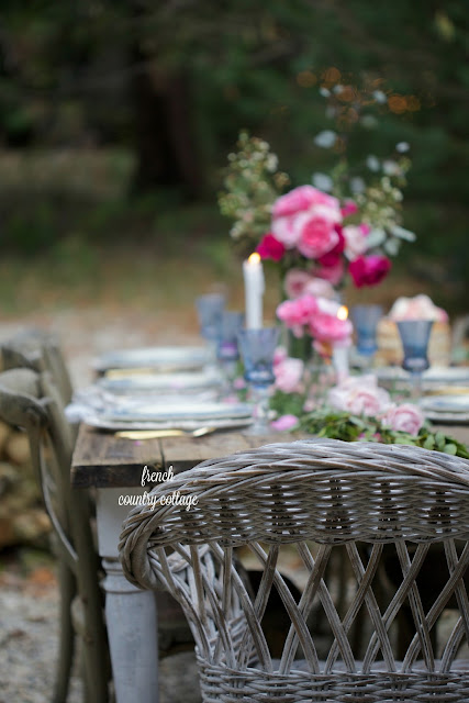 Romantic outdoor table setting for Valentine's Day or Wedding
