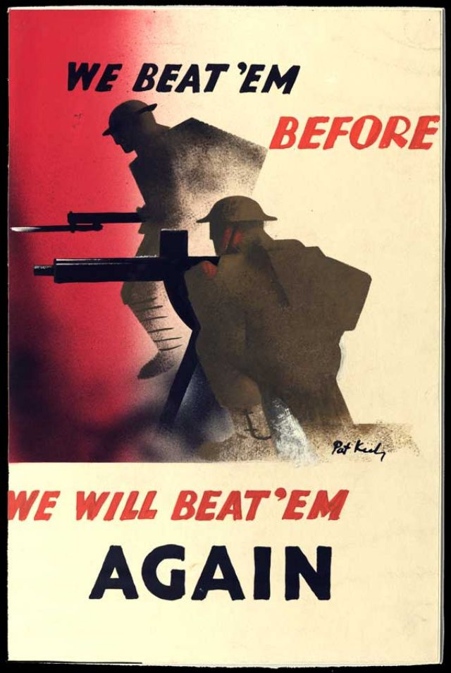 A Strongly Coloured And Graphically Designed War Effort Poster Clearly Recognisable As Keelys Symbolic Shorthand Style With Message Intended To Be