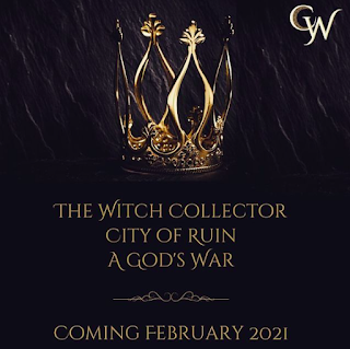 announcement for Charissa Weaks' trilogy The Witch Collector—black background with a golden crown above and the titles listed in gold below: The Witch Collector, City of Ruin, and A God's War