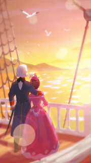 Marie and Lafayette sail away into the sunset