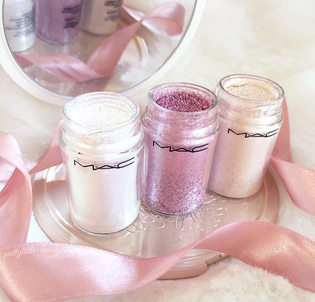 MAC Pigments | Kitchmas, Vanilla & Reflects Transparent Pink Glitter
