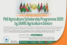 PhD Agriculture  Scholarship Programme-2020 by SAARC Agriculture Centre