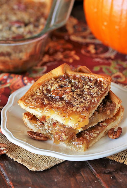 Stack of Pecan Pie Squares with Crescent Roll Crust Image