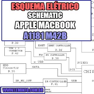 Esquema Elétrico Notebook Apple A1181 M42B Laptop Manual de Serviço