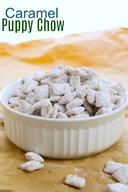 Caramel puppy chow is the perfect combination of crunchy and sweet, easy to make and fun to eat. It is perfect for a party, a quick treat or a fun addition to your holiday menu.