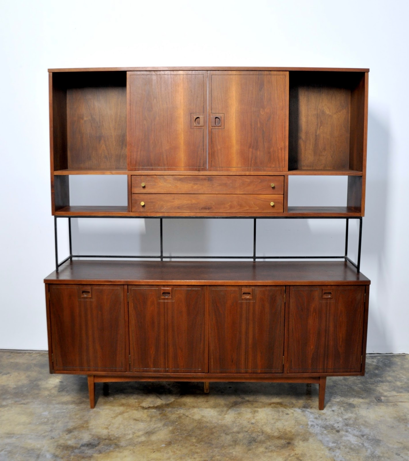 Credenza Bar Room Divider Media Console Buffet Or Sideboard With. Full resolution  portrait, nominally Width 1420 Height 1600 pixels, portrait with #67331C.