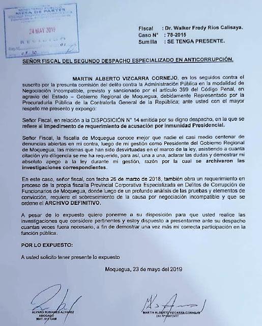 Martín Vizcarra, envió una carta al Ministerio Público de Moquegua