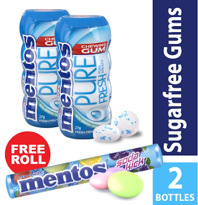 Mentos Sugarfree Gums 2 Bottles with FREE Soda Kick Roll