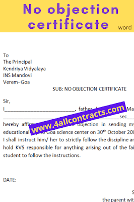 No objection certificate sample templates