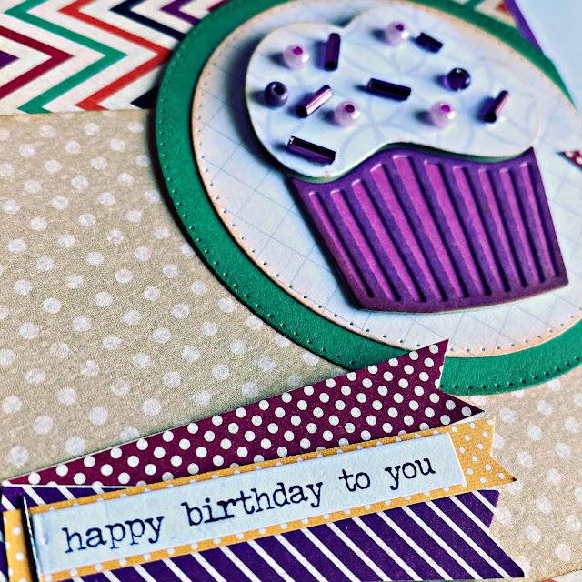 Cupcake Die Cut Stamped Card