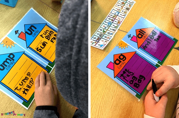 Use the laminated word family posters and fill in word families with a partner or on your own as part of a literacy center