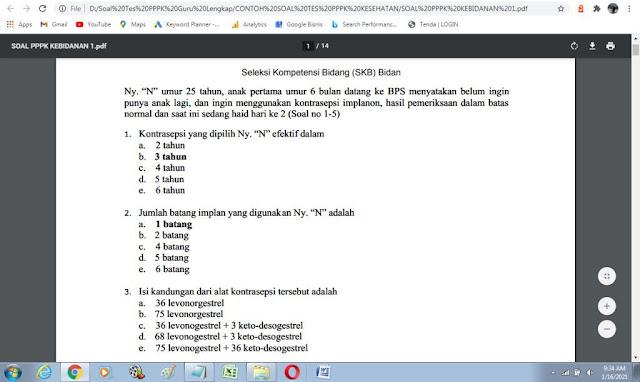 Contoh soal tes p3k kebidanan dan kunci jawaban
