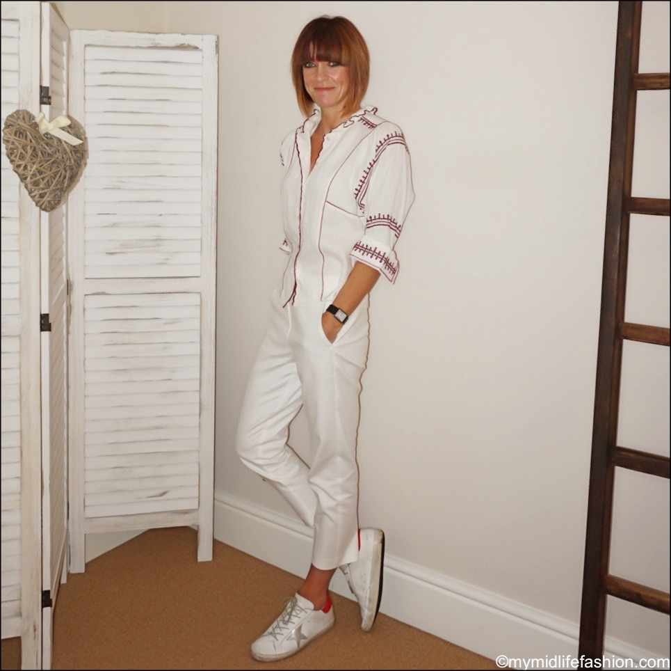 my midlife fashion, Isabel Marant Etoile embroidered blouse, marks and Spencer Mia cropped trousers, golden goose superstar low top leather trainers