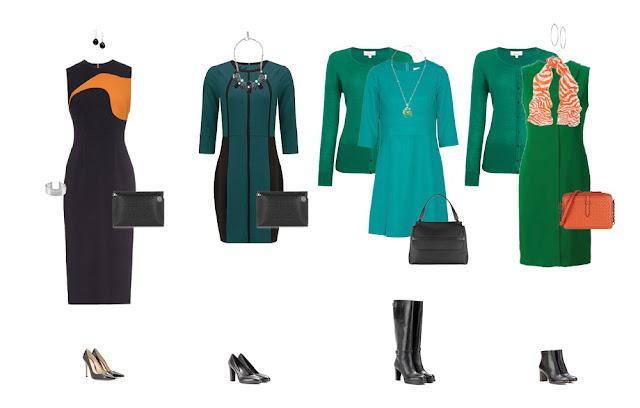 Комплекты капсульного гардероба с платьями и зеленым кардиганом