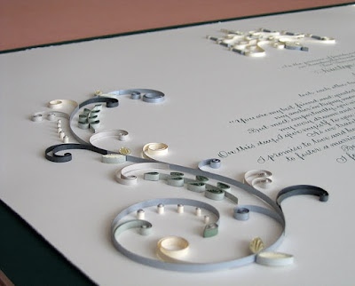 Quilled Marriage Certificate with S-Scrolls