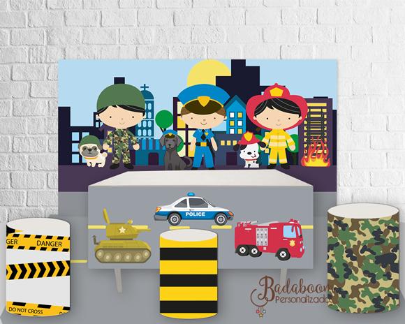 painel, militar, bombeiro, policial, exercito, policia, arte digital, kit digital, festa militar, arte personalizada, festa infantil