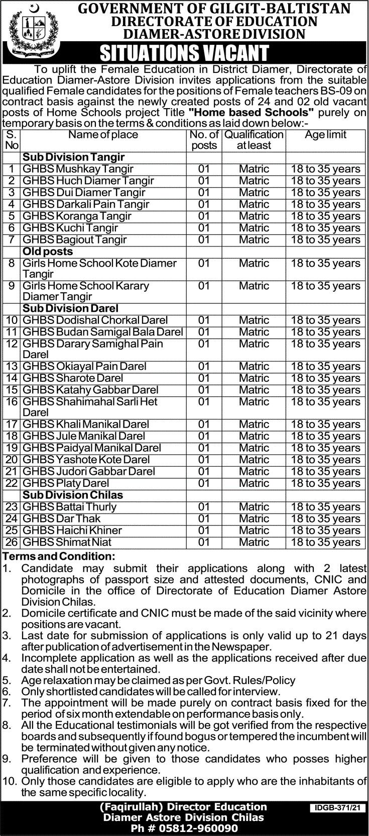 Education Department Diamer Jobs 2021 – Female Teachers Required