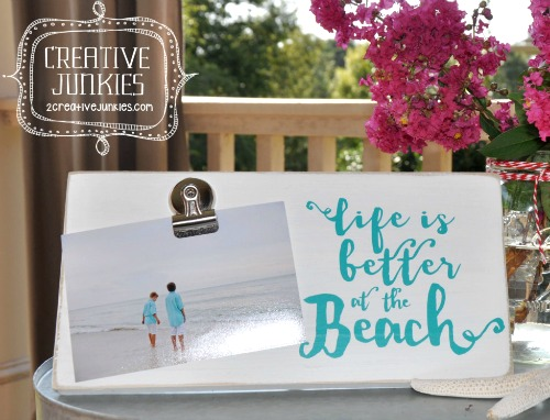Clip Picture Frame with Beach Quote